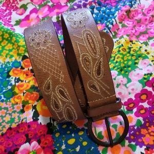 VTG Paisley Floral Brown Genuine Leather Belt